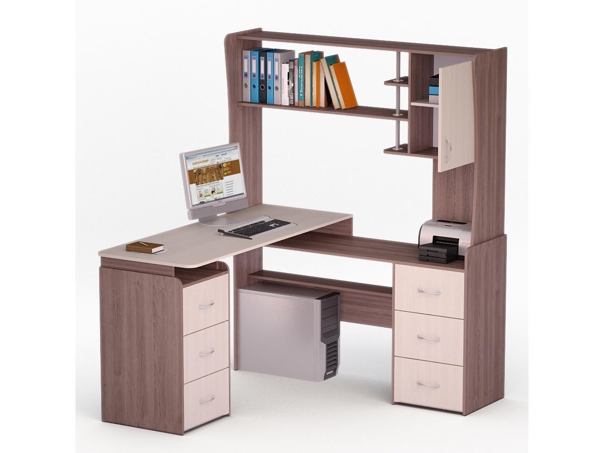 Угловой компьютерный стол с надстройкой и шкафчиками